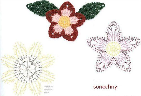 цветы крючком1