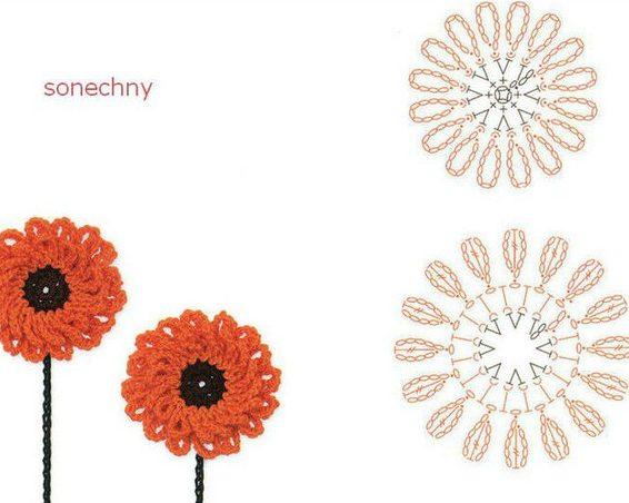 цветы крючком6