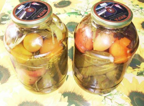 Рецепт ассорти (помидоры и огурцы)